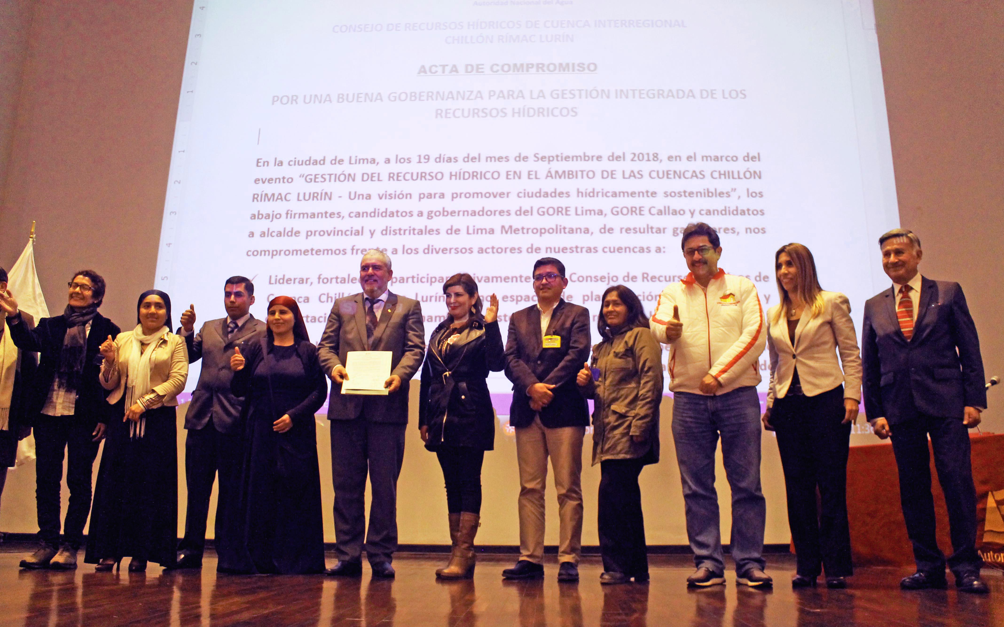 Candidatos y candidatas regionales y municipales de Lima Metropolitana se comprometen a trabajar por ciudades hídricamente sostenibles